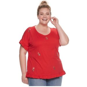 EVRI Tops - EVRI red/gold pineapple short sleeve ruffle tee
